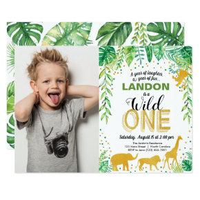Wild One Birthday Invitation Jungle Safari Animals