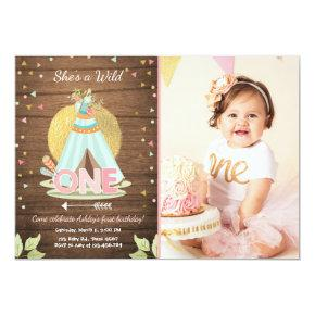 Wild One birthday invitation Teepee Boho Girl Wood