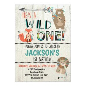 Wild One Birthday Invitation - Tribal Animals