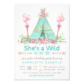 Wild One Birthday Party Teepee First Birthday Invitations