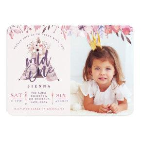 Wild one birthday photo party invite. invitation