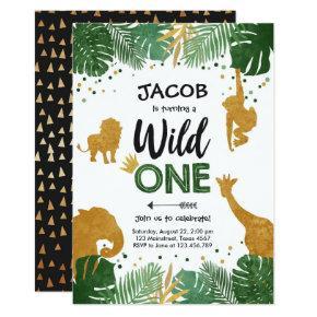 Wild One Birthday Safari Black Gold Jungle Boy 1st Invitation
