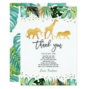 Wild One Birthday Thank You Card Jungle Animals