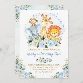 Wild One Blue Jungle Safari Animals 1st Birthday Invitation