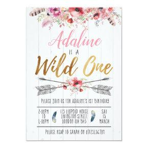 Wild One Boho Birthday Girls 1st birthday invite