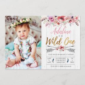Wild One Boho Birthday Girls 1st birthday invite