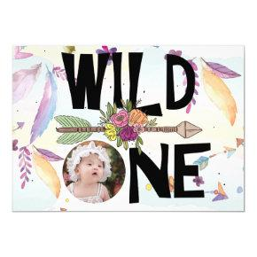 Wild One Boho Photo Girls First Birthday Invitation
