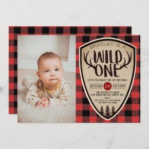 Wild One Boys Rustic Plaid Lumberjack 1st Birthday Invitation