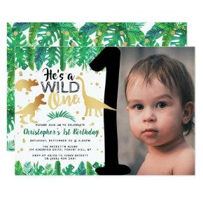 Wild One Dinosaur Boys 1st Birthday Photo Invitation