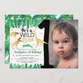 Wild One Dinosaur Boys 1st Birthday Photo Invitation