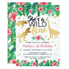 Wild One Dinosaur Girls 1st Birthday Invitation