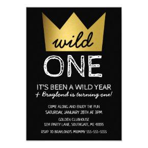 Wild One First Birthday Invitation Gold Crown