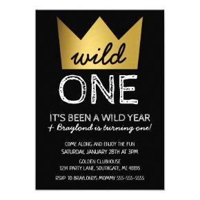 Wild One First Birthday Invitations Gold Crown