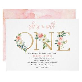 WILD ONE Floral First Birthday Invitation