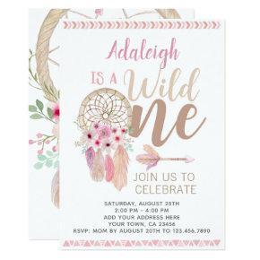 Wild One Girl Birthday Invitation, Dreamcatcher Invitation