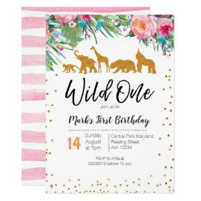 Wild One Girl Birthday Invitations Jungle Animals