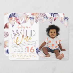 Wild one gold effect photo birthday invitation. invitation