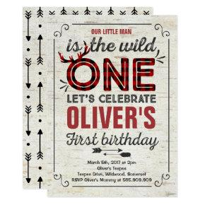 Wild One Invitation Boy Rustic Lumberjack Wild One