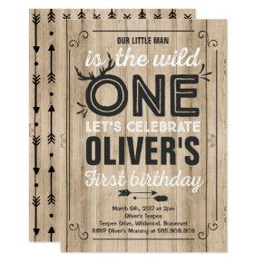 Wild One Invitations Boy Birthday Party Candied Clouds