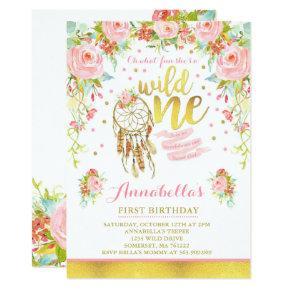 Wild One Invitations Girl Boho Dreamcatcher Party