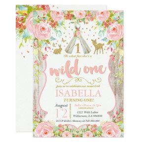 Wild One Invitations Girl Wild One 1st Birthday