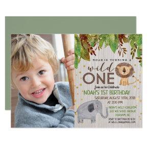 WILD ONE Jungle Boy 1st Birthday Invitation