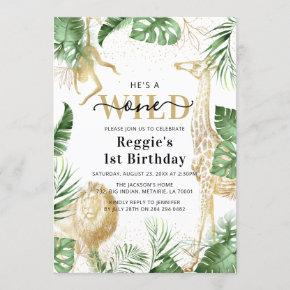 Wild One Jungle Greenery & Gold 1st Birthday Party Invitation