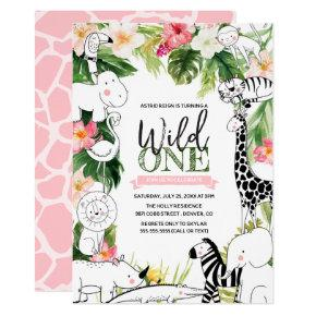 Wild One Jungle Safari Animal Girls First Birthday Invitation