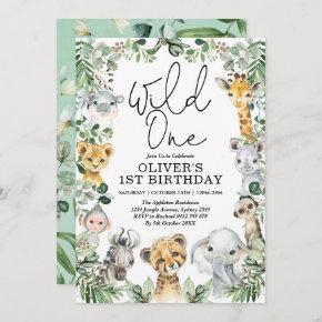 Wild One Jungle Safari Greenery 1st Birthday Boy Invitation