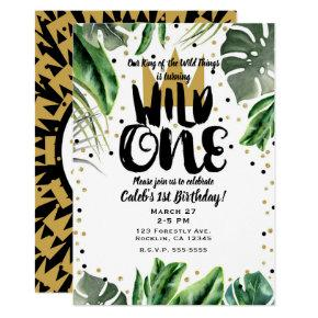 Wild One King of Things Crown 1st Birthday Party Invitations