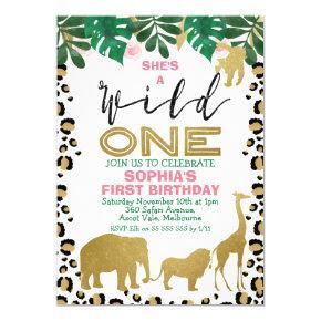 Wild One Leopard Skin First Birthday Invitation