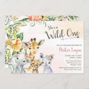 Wild One Lovely Safari Friends First Birthday Invitation