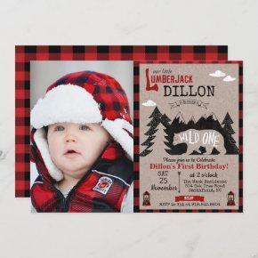 Wild One Lumberjack First 1st Birthday Invitation