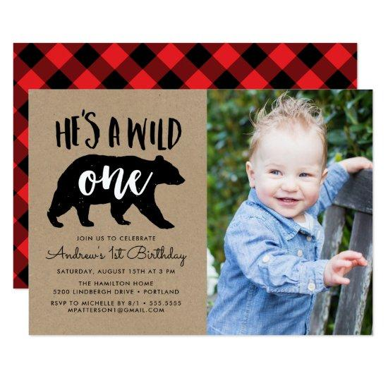 Wild One | Photo First Birthday Invitation