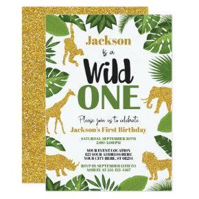 Wild One Safari 1st Birthday Invitation Boy Gold