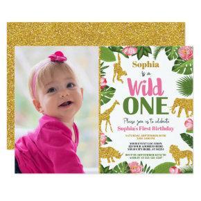 Wild One Safari 1st Birthday Invitation Girl Gold