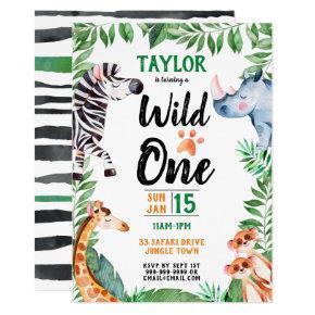 Wild One Safari Animal Kids 1st Birthday Invitation