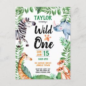 Wild One Safari Animal Kids 1st Birthday Invitation Post