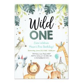 Wild One Safari Animals First Birthday Invitation