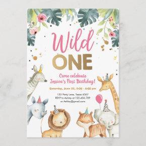 Wild One Safari Animals Girl Birthday Invitation