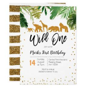 Wild One Safari Birthday Invitations