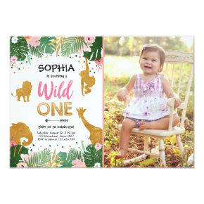 Wild One Safari Gold Girl Pink Animals Birthday Invitation