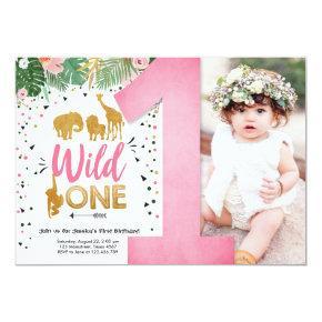 Wild One Safari Gold Girl Pink Animals Birthday Invitation