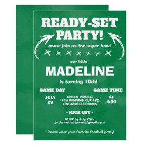 Wild One Sport Chalkboard Football Soccer Birthday Invitation