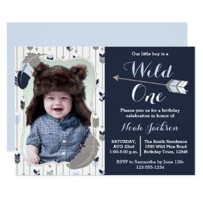 Wild One Tribal First Birthday Blue Photo Invitations