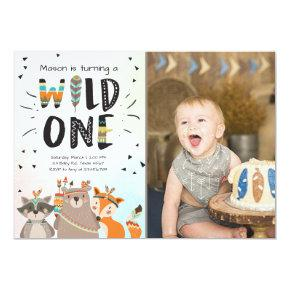 Wild One Tribal First birthday invitation Woodland