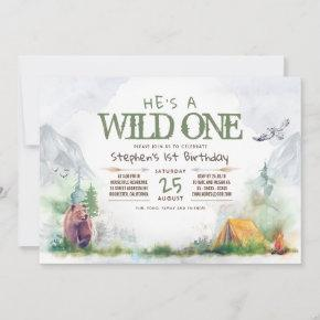 Wild One Woodland Adventure Any Age Birthday Party Invitation