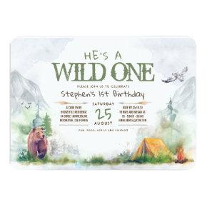 Wild One Woodland Adventure Any Age Birthday Party Invitation