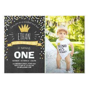 Wild things birthday invitation Boy rustic crown