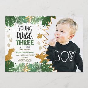 Wild Three Dino Party Boy Gold Dinosaur Birthday Invitation